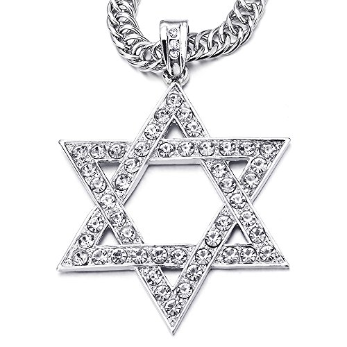 Large Star Of David Pendant - COOLSTEELANDBEYOND Bling Bling Mens Womens Large Star-of-David Pendant Necklace with Rhinestones, 29 Inches Rope Chain