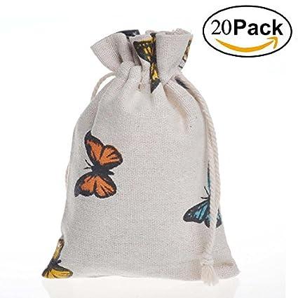 a325b82c2cc1 Amazon.com: PER-HOME Small Cotton Muslin Double Drawstring Bag-Jute ...