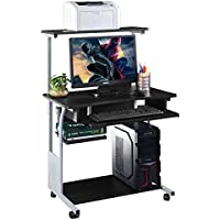 Computer Desk w/ Printer Shelf Stand Rolling Laptop Home Office Study Table