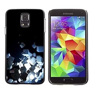 FECELL CITY // Duro Aluminio Pegatina PC Caso decorativo Funda Carcasa de Protección para Samsung Galaxy S5 SM-G900 // Light Bright Black Minimalist Cubes