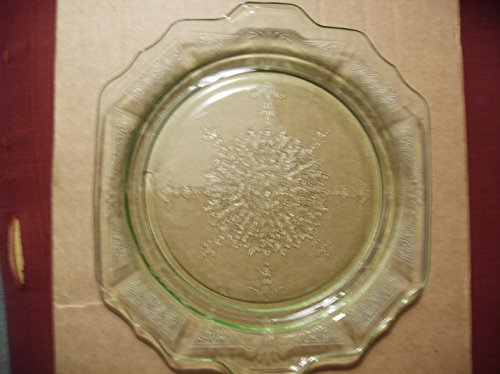 VTG Green Depression Glass Footed Cake Plate 11 1/2