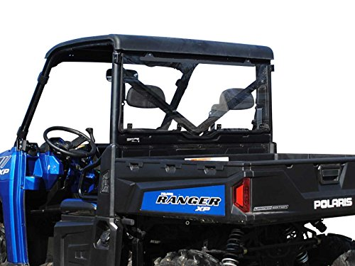 SuperATV Clear Rear Windshield for Polaris Ranger FULL SIZE XP 570 (Pro-Fit Cab) / XP 900 / XP 1000/1000 Diesel (Must See Fitment for Compatible Years) - Easy to Install!