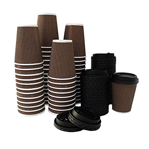 Disposable Coffee Cups - Eco Friendly Cups with Lids 12-Oz - 300 Sets No Sleeves Required - Insulated Cup 100% Leak Proof Cups - Premium Double Walled Paper Cups for Wholesale Take Out Office Home Use