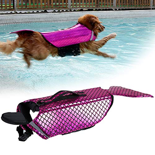 YAhuifx Pet Dog Life Jacket for Swimming, Dog Saver Life Jacket for Water Safety at The Beach Pool, Boating, Pet Dog Swimming Aid Vest Costume Clothes (XL, Pink)]()