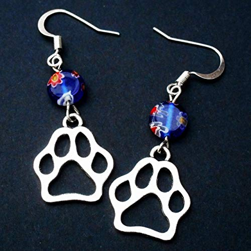 Silver Tone Open Cutout Paw Print Earrings with Millefiori Coin Glass Bead,Cat Dog Animal Lover Gift