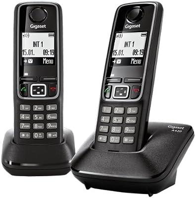 Gigaset Siemens A420 Duo - Juego de teléfonos fijos inalámbricos (2 terminales), color negro (importado): Amazon.es: Electrónica