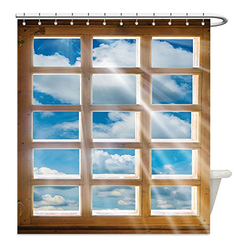 The Shining Costume Scene (Liguo88 Custom Waterproof Bathroom Shower Curtain Polyester House Decor Wooden Window with Sunbeams Shining from view of Sky and Clouds Decorative bathroom)