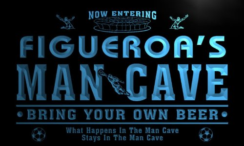 qd1471-b FIGUEROA's Man Cave Soccer Football Neon Beer Sign by AdvPro Name