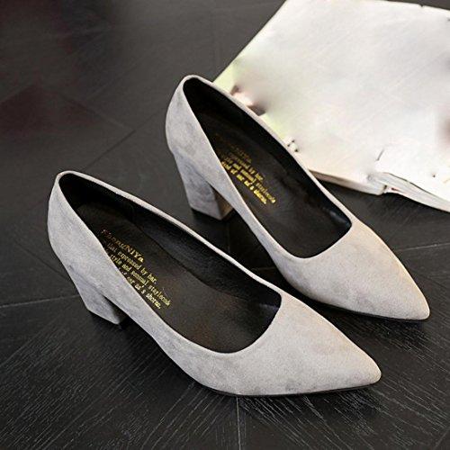 vovotrade gris Los zapatos de las mujeres eran alto grueso del talón un solo ternero superficial Oficina del trabajo