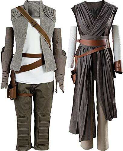 Cosplaysky Star Wars 8 The Last Jedi Rey Costume Women Halloween Outfit Two Versions