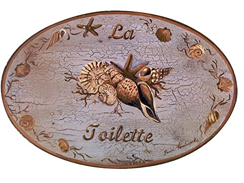 Seashell Plaques - The Stupell Home Decor Collection Coastal La Toilette Blue with Brown Seashells Oval Bathroom Wall Plaque