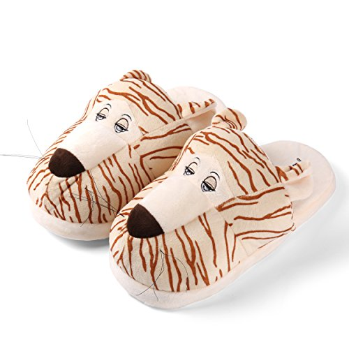 Sleepy Bear Plush Slip-On Warm & Comfy Slippers For Mens Tiger Design nDmZ66