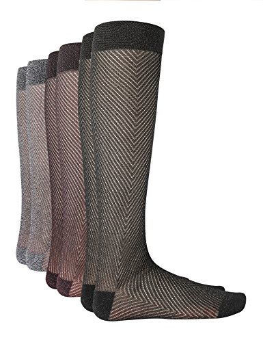 Joulli Fashion Women's Diamond Sparkle Casual Knee High Socks Black/Black Gold/Black Silver(3 - Womens Diamond Socks