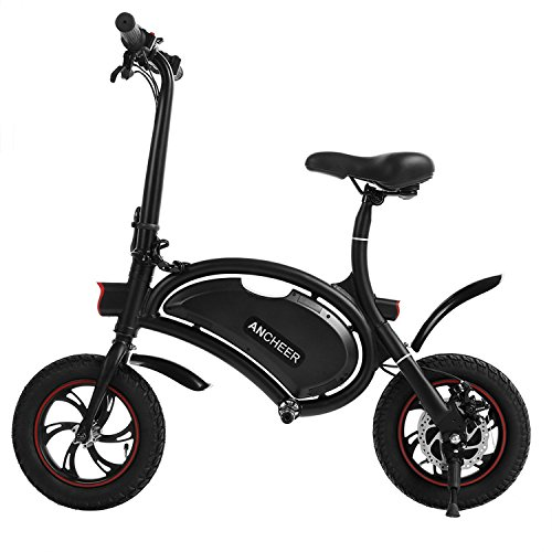 ANCHEER Folding Electric Bicycle/E-Bike/Scooter 350W Ebike with 12 Mile Range, APP Speed Setting (Seller-Fulfilled Black-6AH)