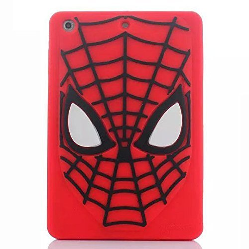 iPad Mini Case,Phenix-Color 3D Cute Soft Silicone [Drop Proof,Shock Proof,Anti Slip] Cartoon Gel Rubber Back Cover Case for iPad Mini 1 2 3 (Square Spider-Man)