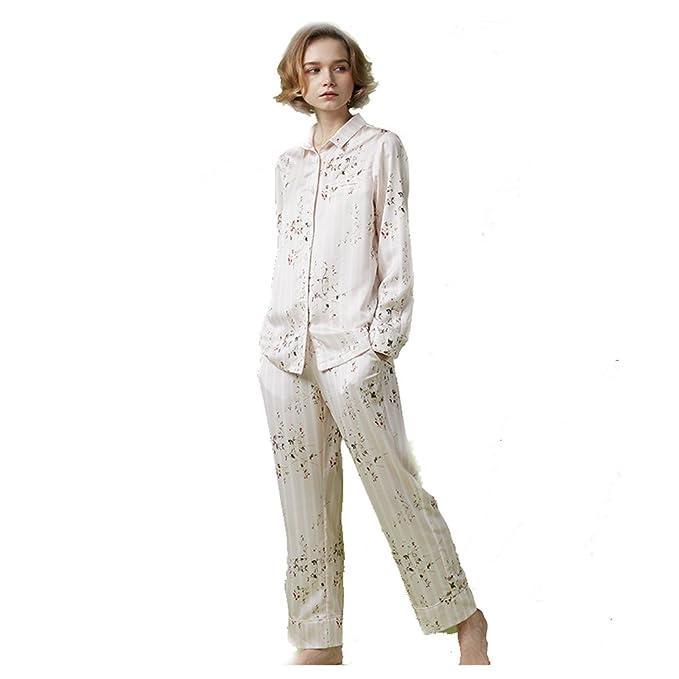 Flores y rayas imprimir pijama conjunto mujer,Pijama de seda de la ropa de noche