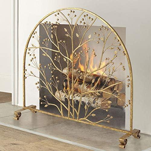 暖炉スクリーン 単一のパネルヘビーデューティー暖炉スクリーン、錬鉄大きな安全火災のカバー、屋内/屋外ハースアクセサリーインテリア (Color : Gold, Size : 96×22×90cm)