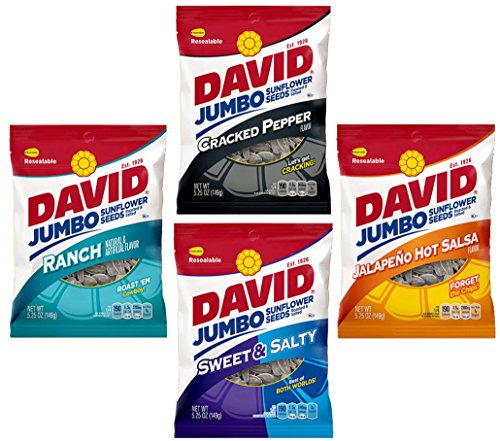 - David Sunflower Seeds | Variety Pack of 4 of the Most Popular Flavors | Jalapeno Hot Salsa, Ranch, Cracked Pepper, and Sweet and Salty