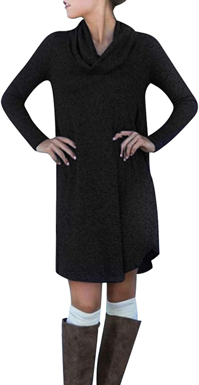 Damen Rollkragen Pullikleid Sweatkleid Strickkleid Slim Pullover Longshirt Kleid