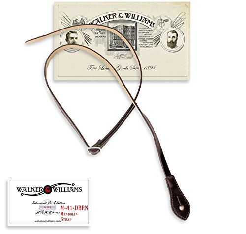 Walker & Williams M-41 Dark Brown Leather Mandolin Strap For A or F Types by Walker & Williams
