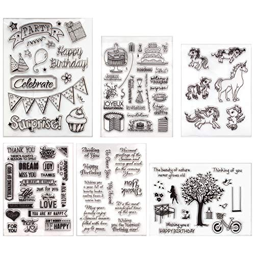 - Happy Birthday Clear Stamps for DIY Gifts Unicorn Scrapbooking Decoration Card (Happy Birthday)