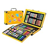 159 Piece Deluxe Art Set in DIY Paper CaseLet's start at the outside and work inwards. The outer shell is a sturdy, glossy, creative DIY paper case. It's secured with high-quality snap-fit design.And with cute animal stickers for children ,friends to...