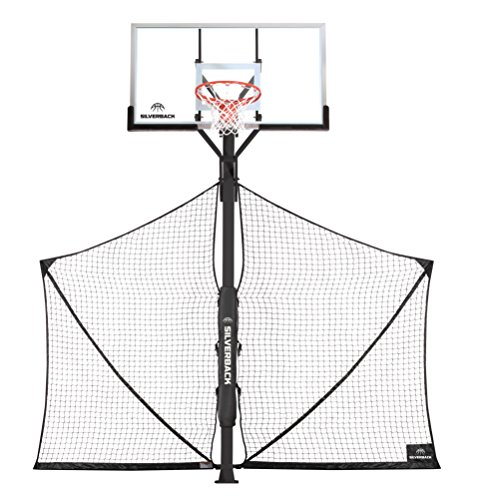 Diagonal Hoop (Silverback Basketball Yard Guard Defensive Net System Rebounder with Foldable Net and Arms into Pole)