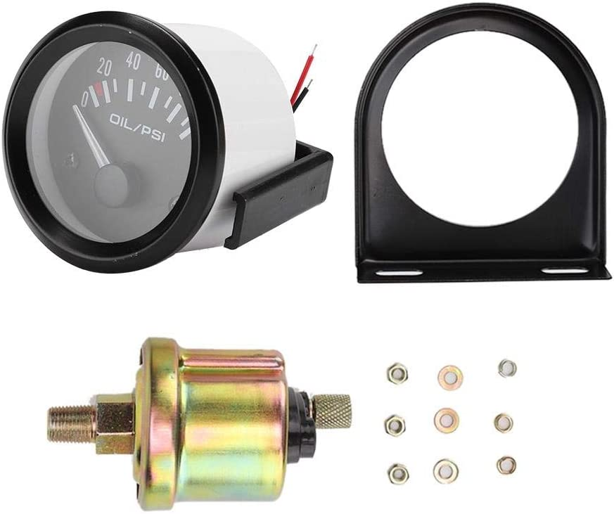 Suuonee Oil Pressure Gauge,52mm//2in 12V Universal Car Electromagnetic Oil Pressure Gauge Indicator Auto Modified Meter