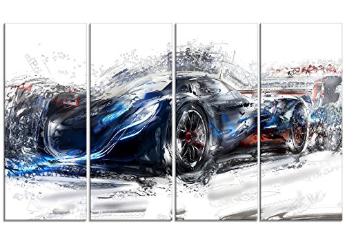 "Digital Art PT2623-32-16 ""Black Speedster Car"" Wall Art Print"