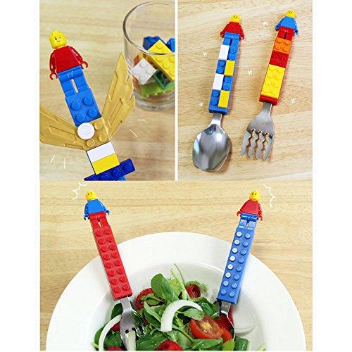 Brick Figure Design Oxford Training Chopsticks Spoon Fork Case Set for Right-hand Children Kids (BlueCaseSpoonForkChopsticks) by OxfordKorea (Image #6)