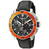 Alpina Seastrong Diver 300 Big Date Chronograph Black Dial Black Leather Mens Watch AL-372LBO4V6