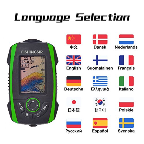 FISHINGSIR Wireless Portable Fish Finder Depth Finder Fishfinder with Sonar Sensor Transducer and 100M LCD colors Display by FISHINGSIR (Image #8)