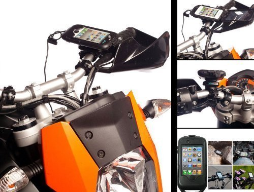 Motorcycle Bike Quick Release Mount Kit + Hard Tough Case for Apple iPhone 4S including Hard Wire Battery Charger Cable