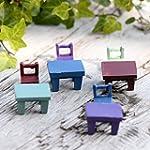 8 Pieces Miniature Fairy Garden Ornament Tables Chairs Furniture Ornament Dollhouse Plant Pot Figurine DIY Outdoor Indoor Decoration BY DINGJN