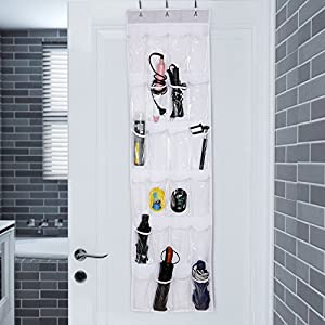 Xaestival Over The Door Shoe Organizer with 24 Mesh Storage Pockets White