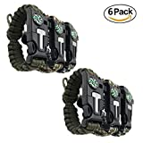 Survival Bracelet [pack of 6] - Paracord + Compass + Fire Starter +