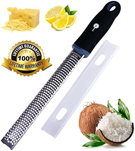 Measuring Grater - Professional Zester, Grater, Rasp by Integrity Chef - Antibacterial Cover, Ergonomic, Non-Slip Grip Handle, Premium Grade Stainless Steel, Citrus, Cheese, Lemon, Ginger, Chocolate, SAVE A LIFE!