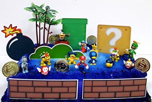 MARIO Brothers Birthday CAKE Topper Set Featuring Mario Figures,Themed Decorative Accessories, Figures Average .5