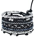 Chan Luu Black Mix Wrap Bracelet on Natural Black Leather, BSZ-5038