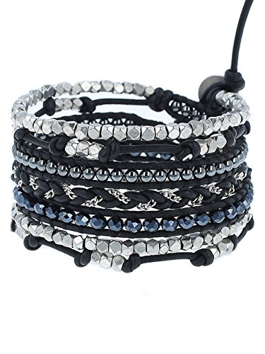 Chan Luu Black Mix Wrap Bracelet on Natural Black Leather, BSZ-5038 by Chan Luu