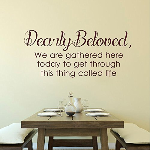 Wall Decal Decor Dearly beloved we are gathered here today to get through this thing call life - Prince Lyrics Vinyl Lettering Wall Decal Quotes(Black, 10