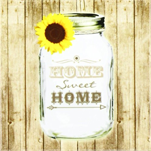 (3dRose CST_128555_3 Country Rustic Mason Jar with Sunflower Home Sweet Home Ceramic Tile Coasters, Set of 4)