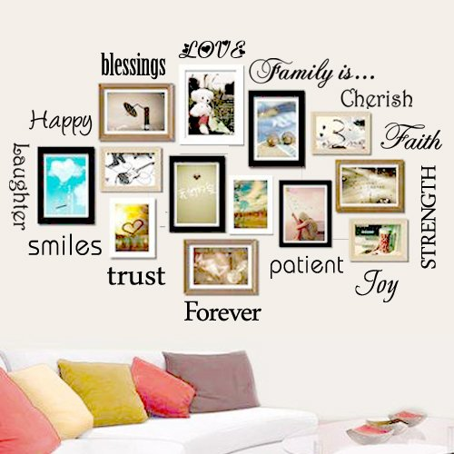 Family Wall Decal-Classic-Set of 10 Family Words Quote Family Wall Sticker Picture Wall Decal  (The Picture. No Photos Included) (Decal Photo)
