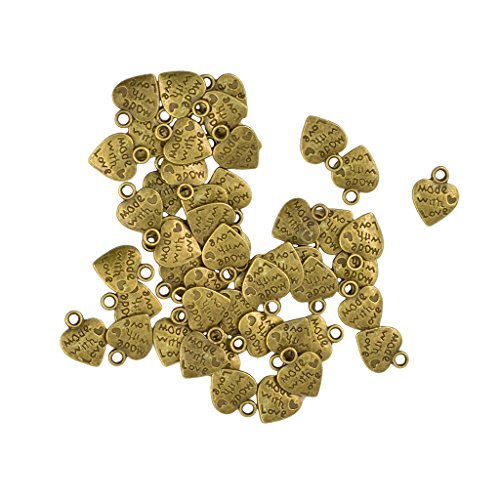 B Blesiya 50Pcs 12x10mm Classic Love Heart Charm Pendant Made with Love Engraved for Jewelry Making