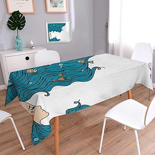 Wen Zhouqw Underwater Waterproof Tablecloths Girl with Big Hair Hairstyle Fly Away Fairytale Sleeping Crab Imaginary Washable Tablecloth 60