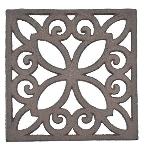 Decorative Square Brown Cast Iron Trivet Ornate Design 6.25