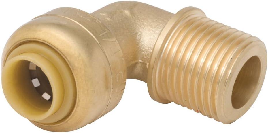 SharkBite U281LFA Dishwasher Tube to Pipe Elbow, 90, 1/2 X 3/8 in, Slip X Mnpt, Psi, Dzr, 200 Deg F, 1/2 Inch Push-to-Connect x 3/8 Inch, Brass
