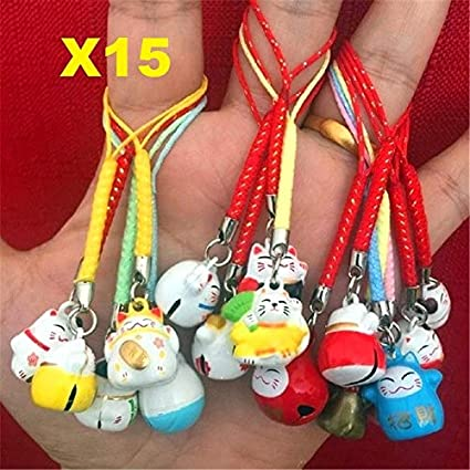 EatingBiting(R)15pcs Random Maneki Neko Fortune Lucky Japanese Beckoning  Cat Keyring Keychain Key 36ef07610397