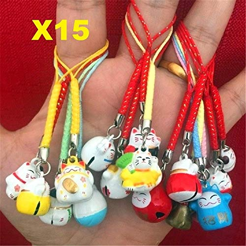 EatingBiting(R)15pcs Random Maneki Neko Fortune Lucky Japanese Beckoning Cat Keyring Keychain Key Rings, Fengshui Fortune Lucky Cat Kitty Key Chains Wealth Health Fortune Rich Money Symbol 15 ()