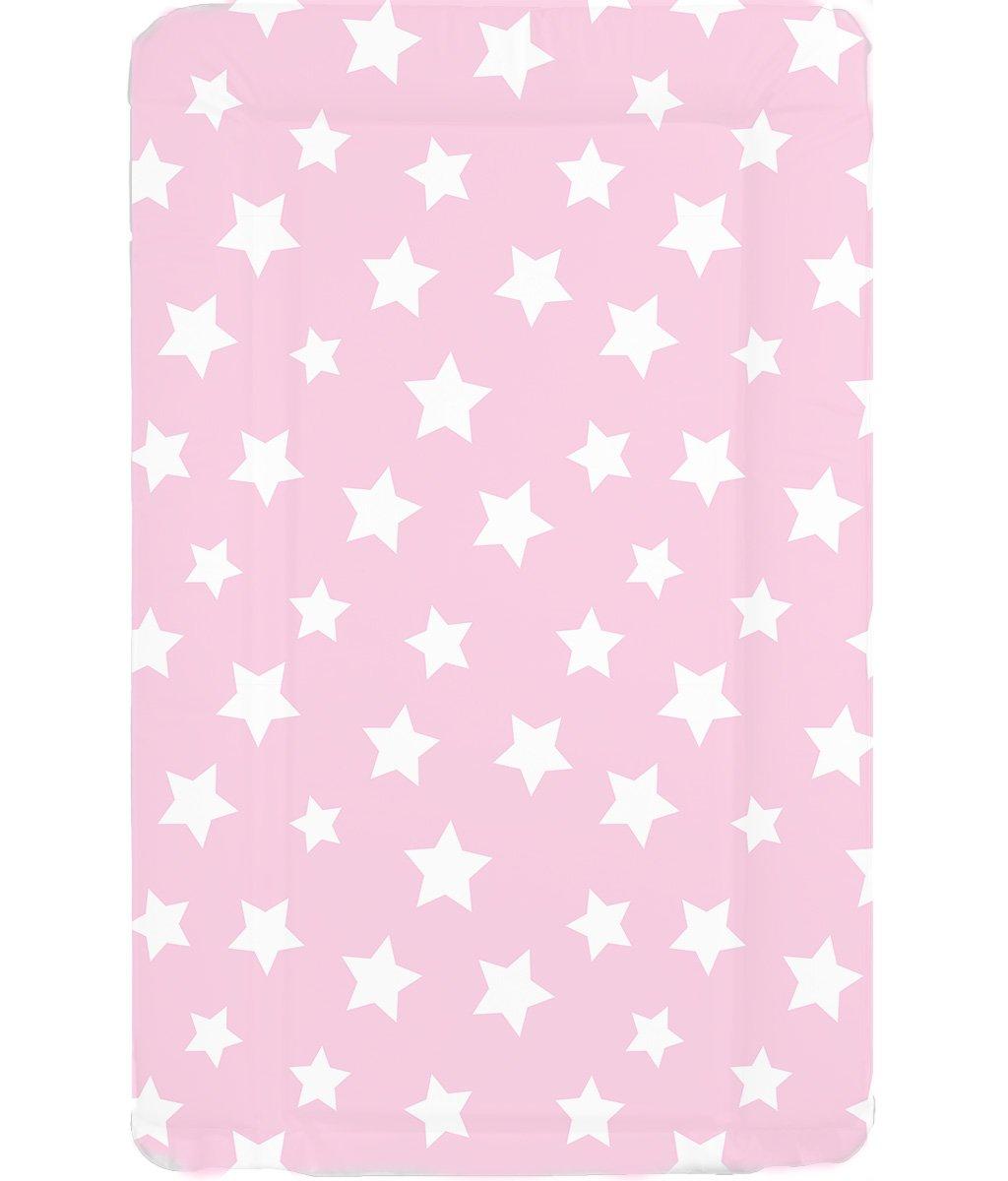 Estuche de lujo resistente al agua de bebé Unisex lavable en los cambios de la estera - lámpara de techo con de agarrado fácil con indicadores de los bordes de color rosa y con tapa de cierre blanco diseño de estrellas multicolor de babieswithlove